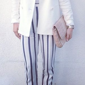Zara white and blue striped pants, size small